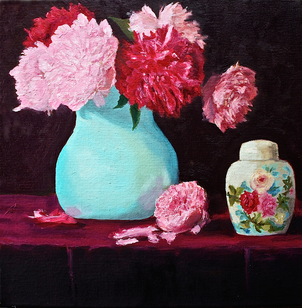 "Gray Jacobik's ""Painted Roses, Real Peonies"""