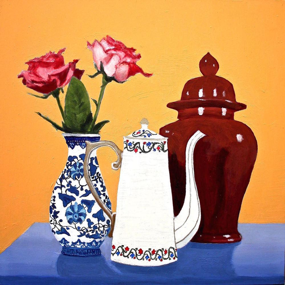"Gray Jacobik's ""Two Roses, White Teapot & Maroon Ginger Jar"""