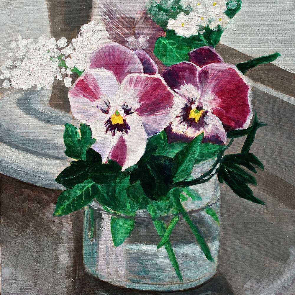 "Gray Jacobik's ""Pansies & Winterberry"""