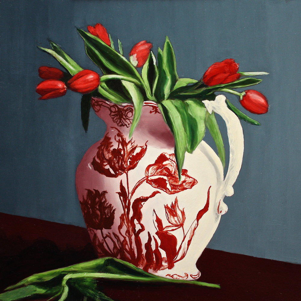"Gray Jacobik's ""Red Tulips in a Red Tulip Pitcher"""