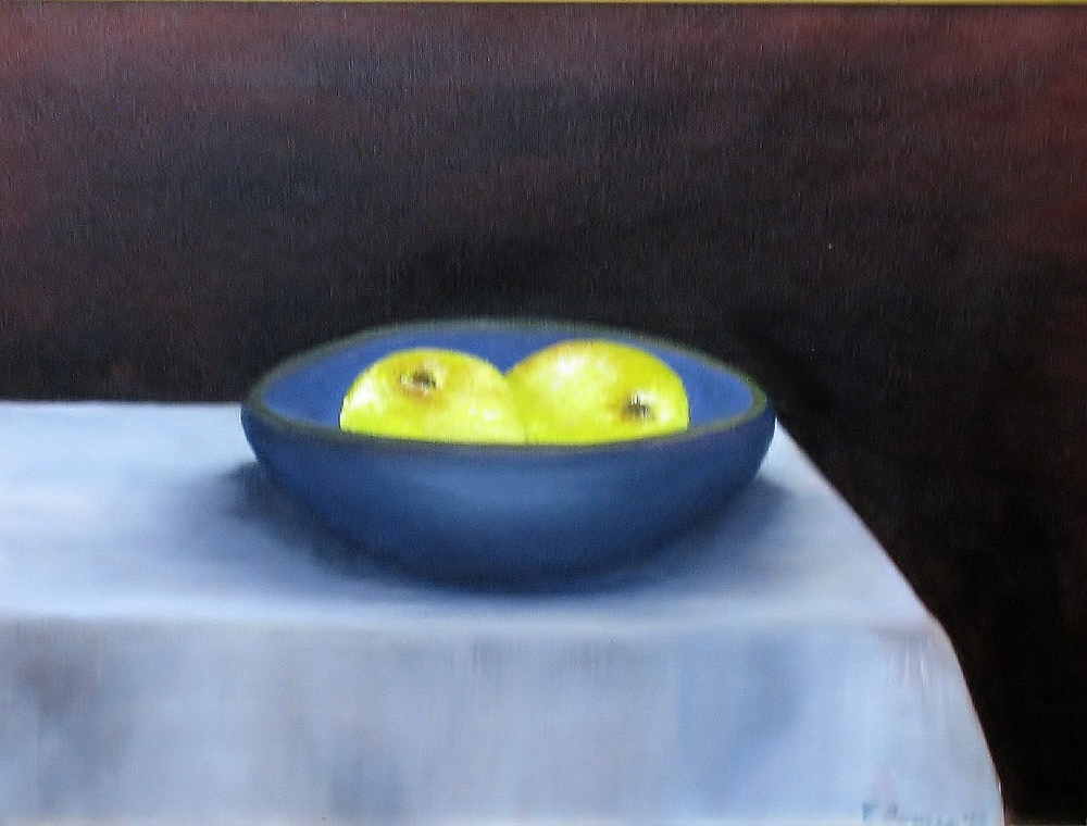 "Elba Borges ""Blue Bowl with Tropical Sweet Limes"""