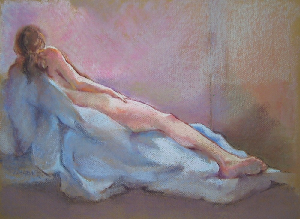 """Nude with Blue Drape"" please contact gallery for size and price"