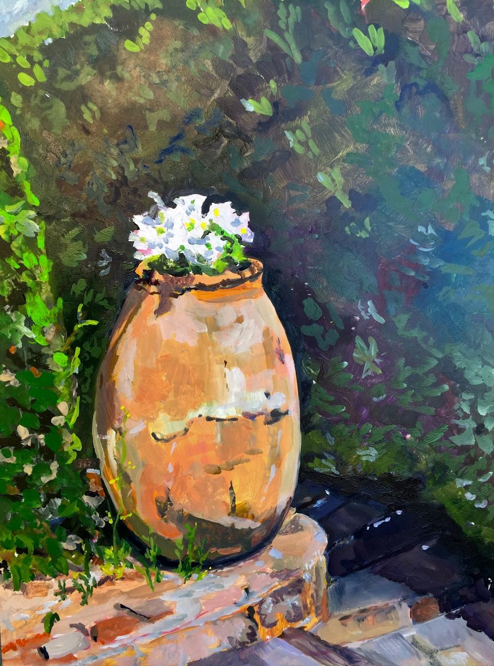 Patched Pot of White Flowers La Napoule