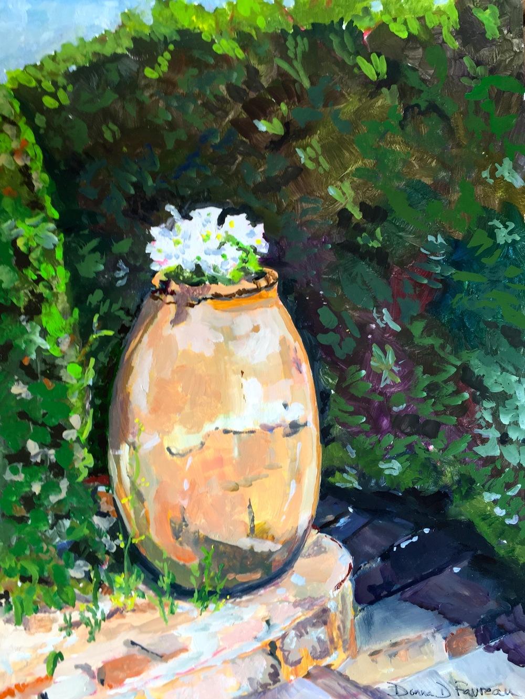 """Donna Favreau's """"White Flowers, Castle La Napoule"""""""