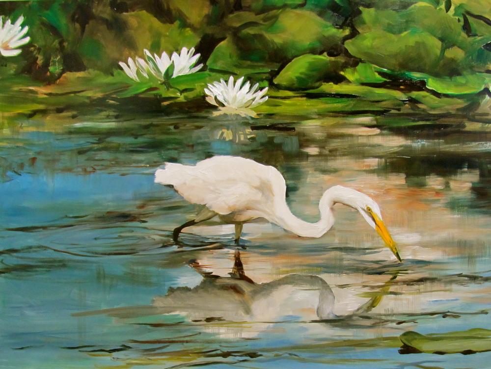 """Bivenne's """"Great Egret Foraging"""""""