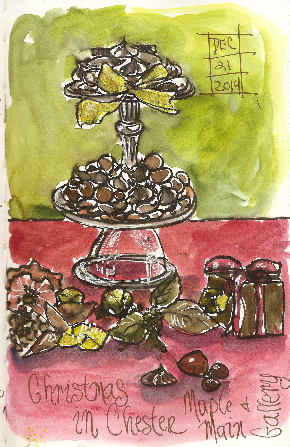 Chocolate sketching with Jan Blencowe on Dec. 20