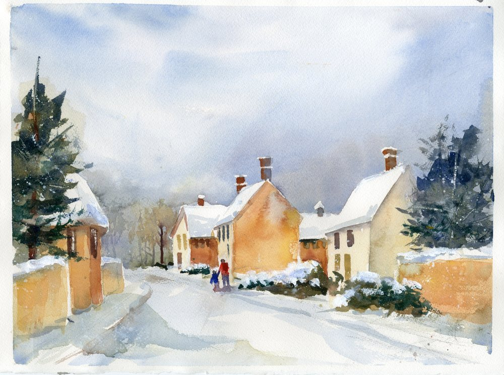 """English Village"" watercolor"