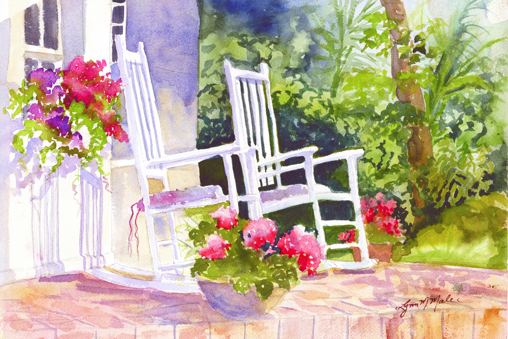 """Key West Twins"" watercolor"