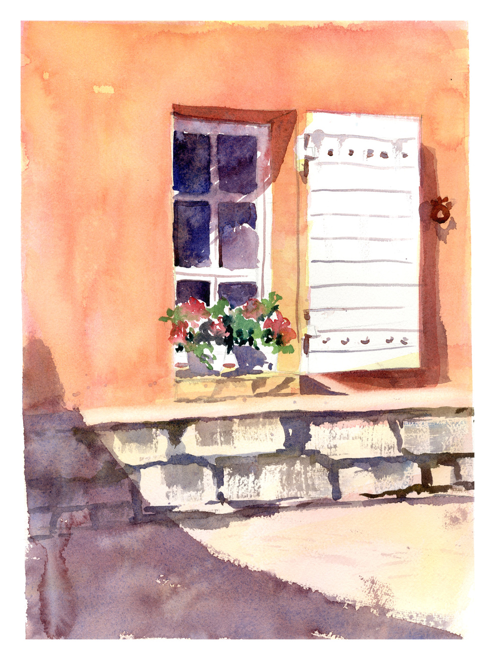 """Lourmarin"" watercolor"