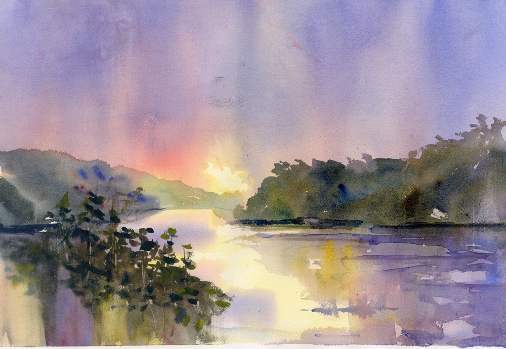 """Riverbend"" watercolor"