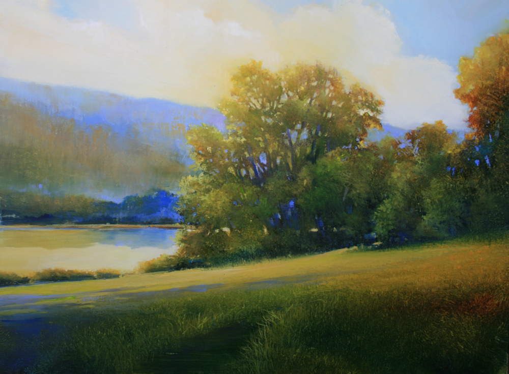 "Janine Robertson's ""Sunlit Trees on the Riverbank"""