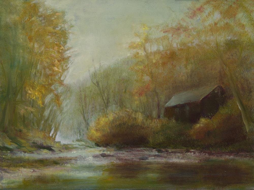 Autumn Light Barn on River