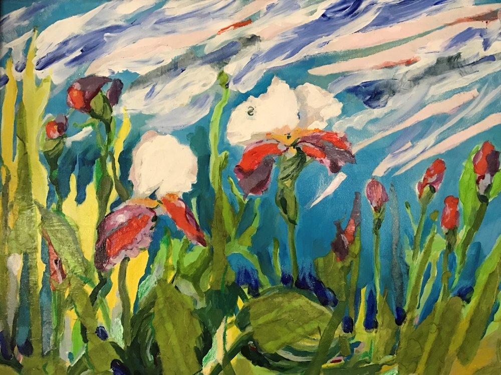 """Elizabeth B. Wrights """"Iris's in the Wind"""""""