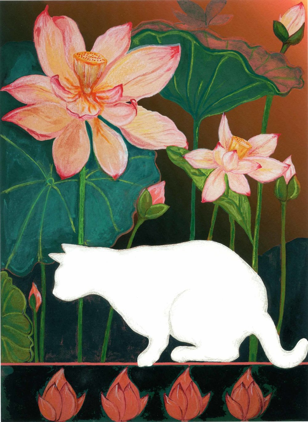 White Cat and Lotus