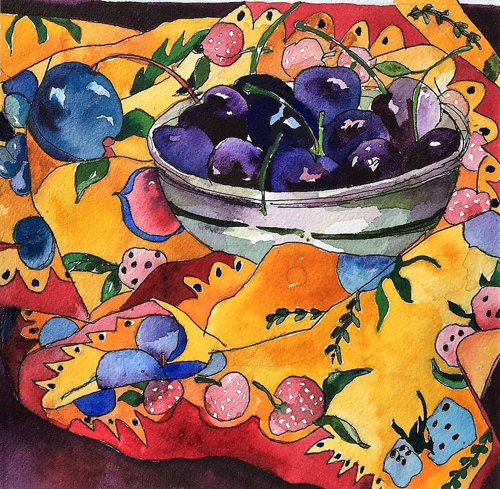 Cherries and Dish Towel