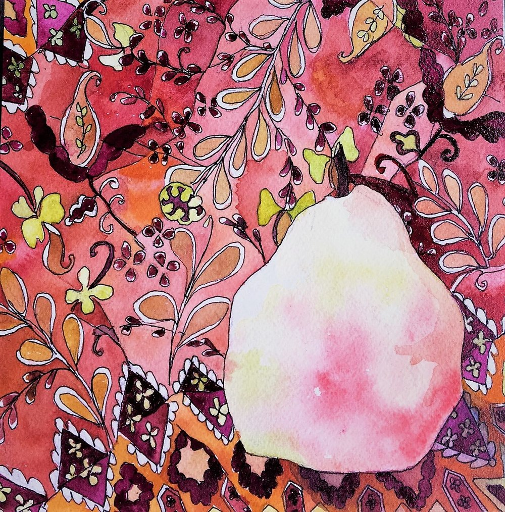 "Claudia Van Nes's ""Pear on Fabric"""