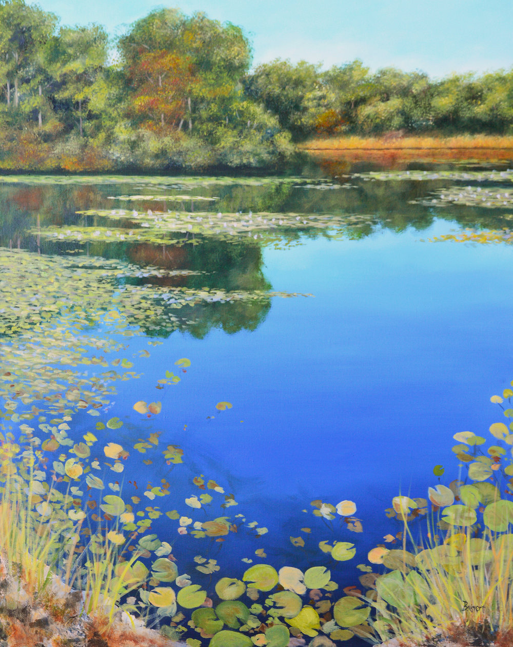 "Linda Boisvert-DeStefanis's ""Reflections on Pond"" (left)"