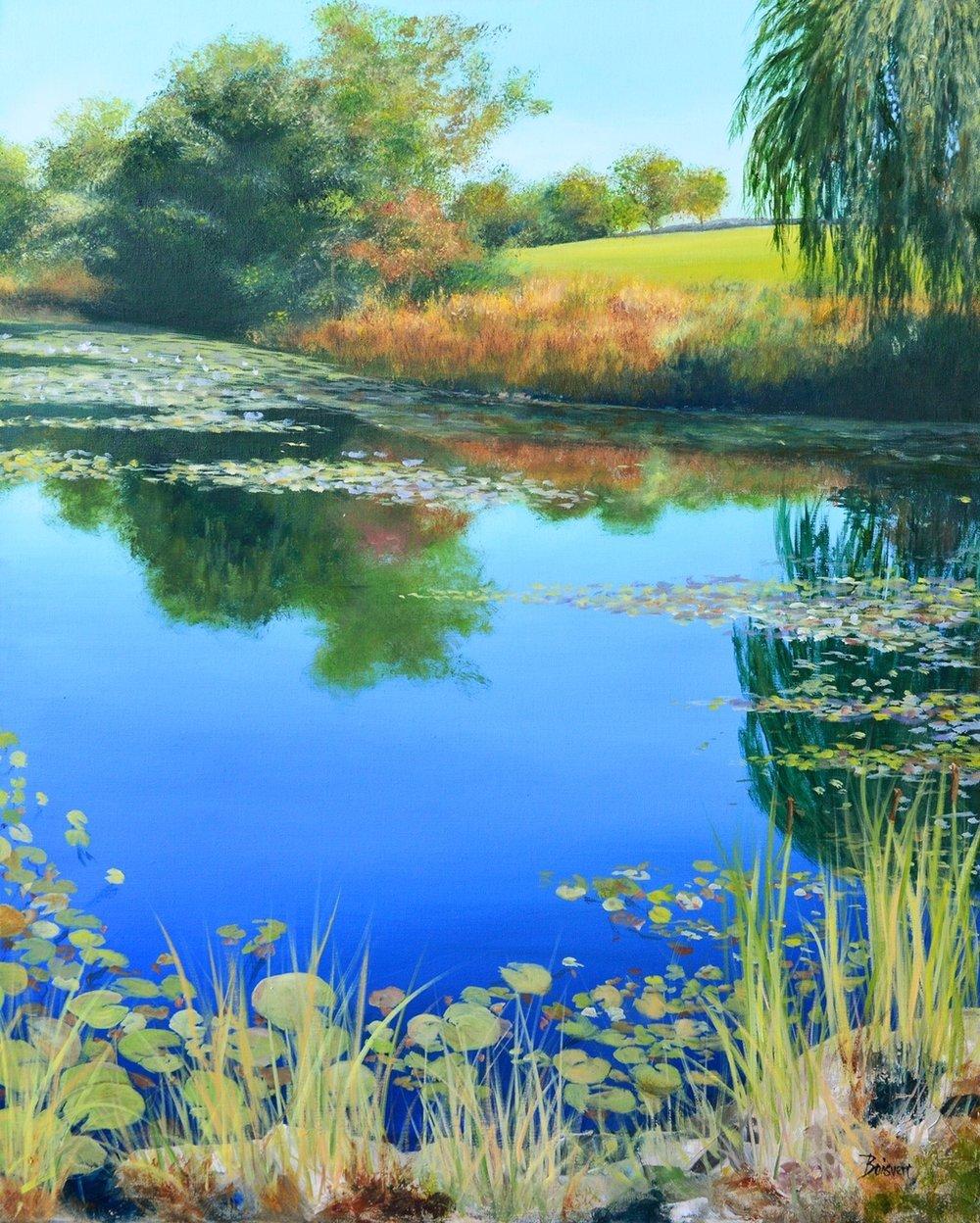 """Linda Boisvert-DeStefanis's """"Reflections on Pond"""" (right)"""