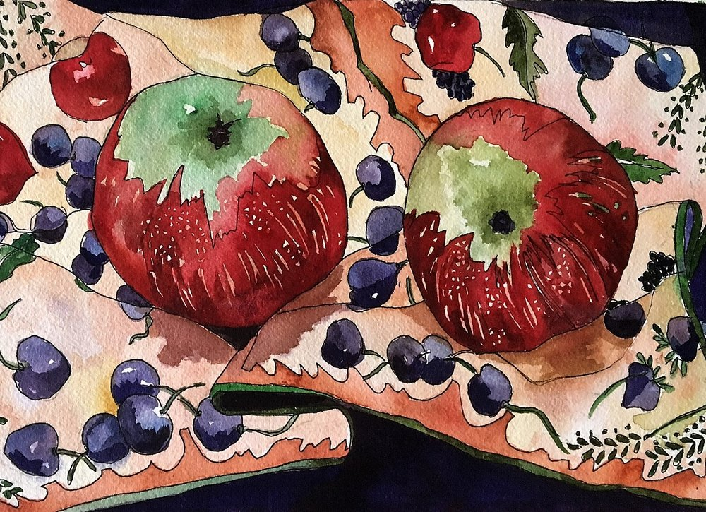 "Claudia Van Nes ""Two Apples on a Dish Towel"""