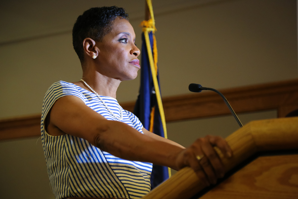 Donna Edwards delivers her concession speech shortly after AP calls Chris Van Hollen as the winner. Lanham, Maryland.