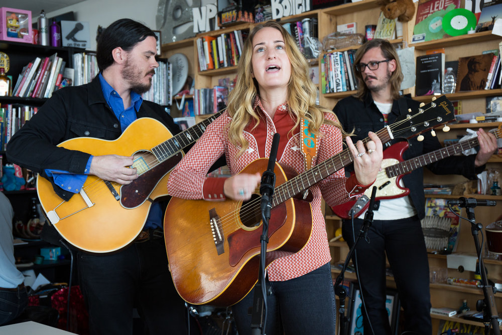 Margo Price plays a Tiny Desk show on November 9th, 2016. (Victoria Milko/NPR)