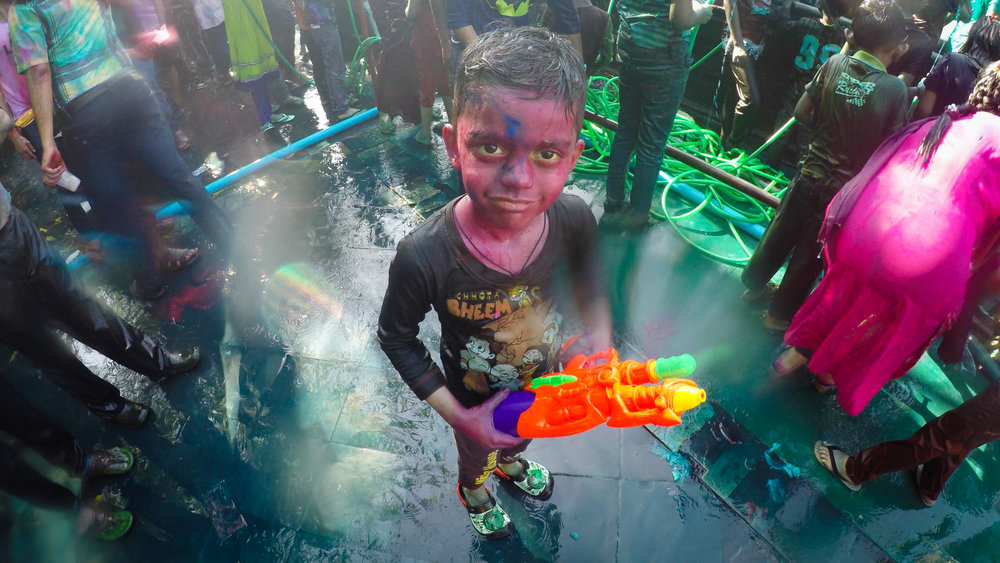 A common sight at the 2017 Holi Celebration in Yangon. Shot using a waterproof GoPro Hero 4. Kandawgyi Lake, Yangon.
