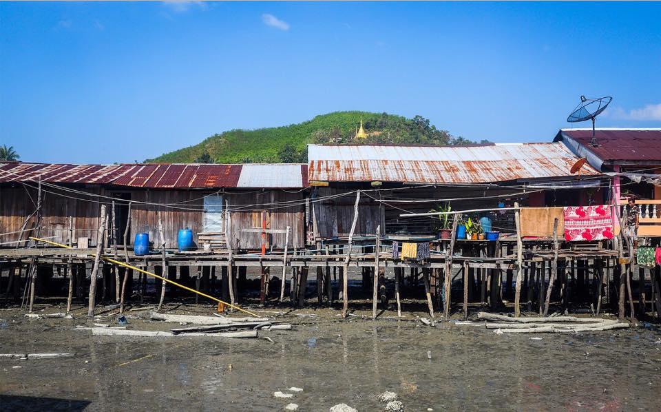 Houses sit on the coastal side of Paulatonetone Island, Tanintharyi Region.