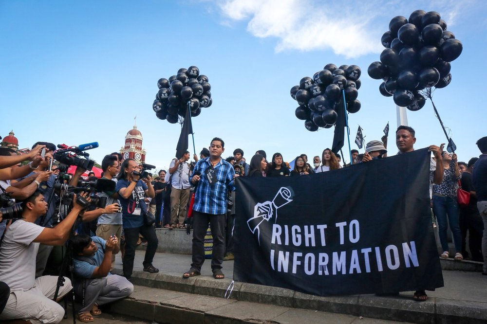 "The ""Right to Information"" demonstration in Yangon, which had a disappointing turnout."