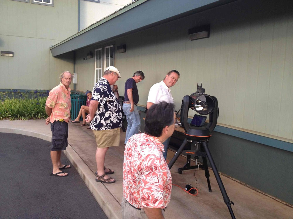 Observing the sun at a Roadshow event in Maui.