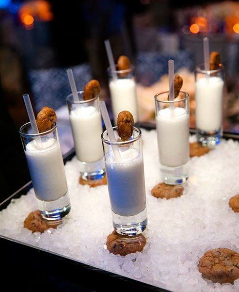 Great inspiration pic, Love cookies and milk as a late night snack at a reception.