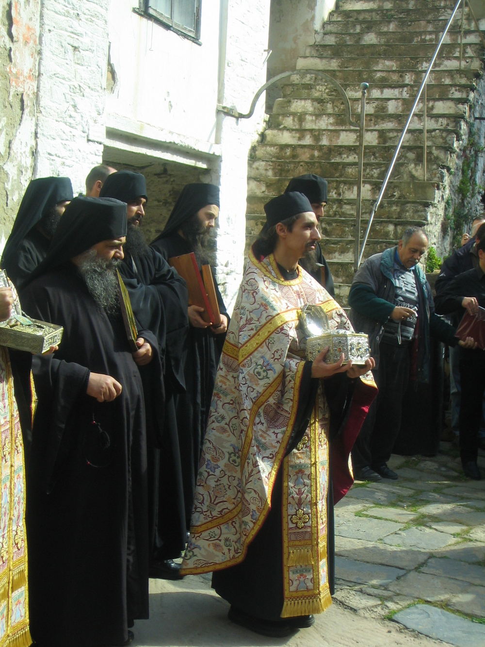 Fr. Achilles at the monastery of Vatopedi, Mt. Athos processing with the relics of St. John Chrysostom on the Sunday of Orthodoxy, 2008.