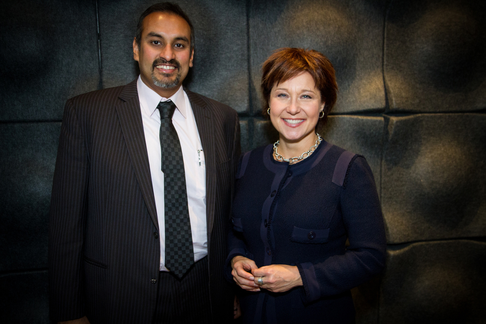 CEO & Founder, Namit Malhotra stands alongside B.C. Premier Christy Clark in Prime Focus World's Los Angeles facility.