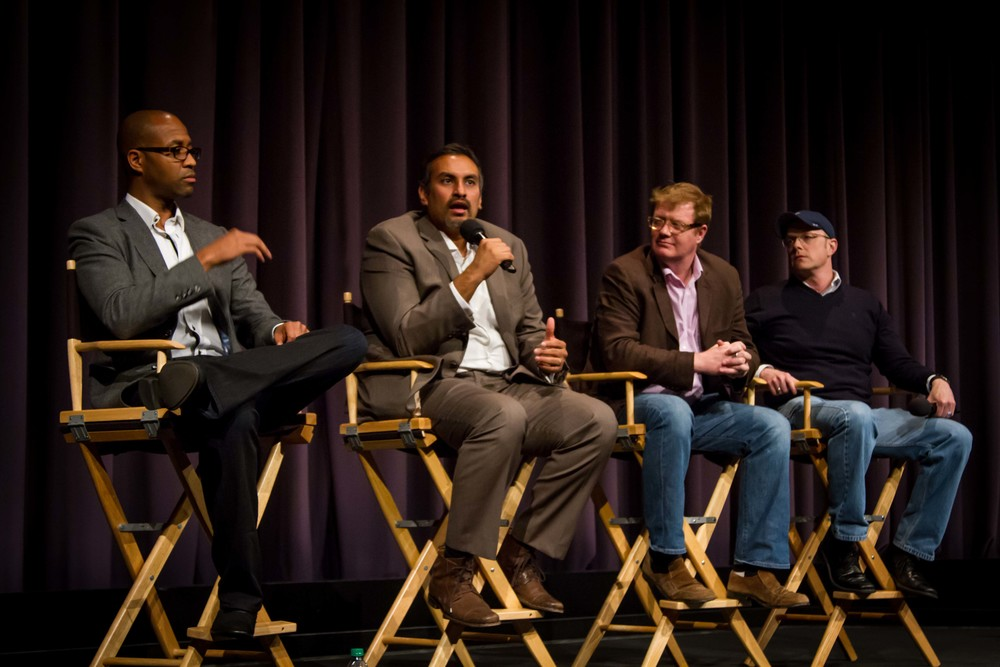 From left to right: Corey Turner (Paramount VP, 3D Post Production), Namit Malhotra (Founder & CEO, Prime Focus World), Benedict Murray (Senior Stereographer, Prime Focus World) and Aaron Parry (EVP & Chief Creative Officer, Stereo D).