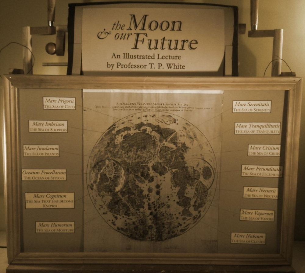 """The Moon and our Future,"" a toy theater with three layers of moving backgrounds, built by Morgan FitzPatrick Andrews. Devices like this were used throughout the 19th century for art, entertainment, as well as scientific presentations and political propaganda."
