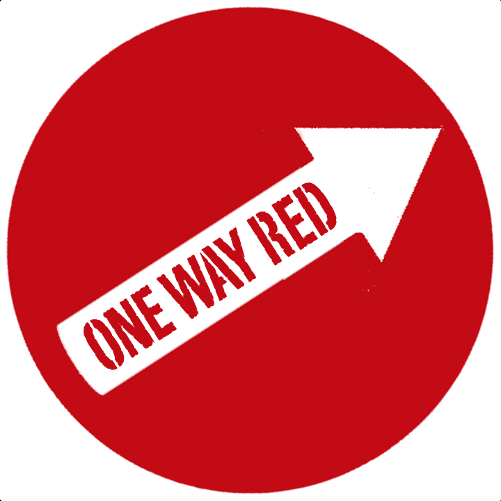 ONE WAY RED logo as it will appear on your sticker, embroidered patch, or handmade T-shirt.