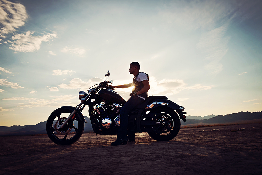 a motorcycle photoshoot  Dry Lake Bed- Adrian and his motorcycle — Davista Photography