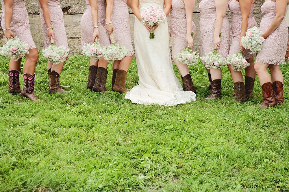 cowgirl-boots-and-lace-bridesmaid-dresses
