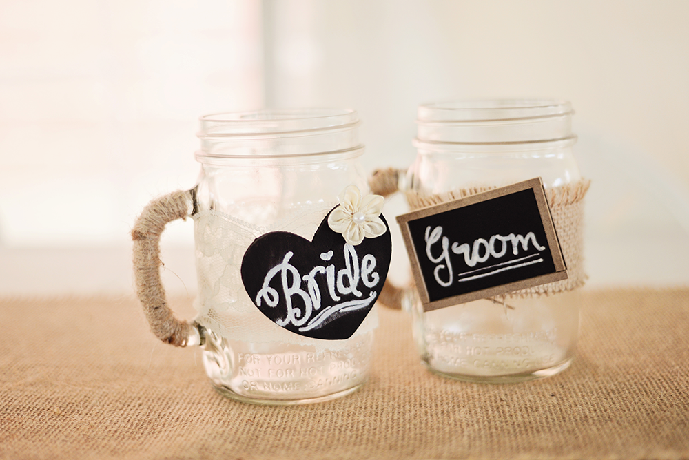 bride-and-groom-mason-jars-and-signs