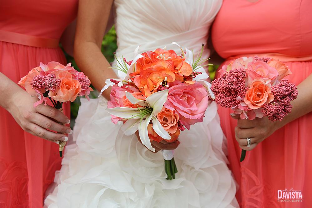 bridal party flower bouquet coral
