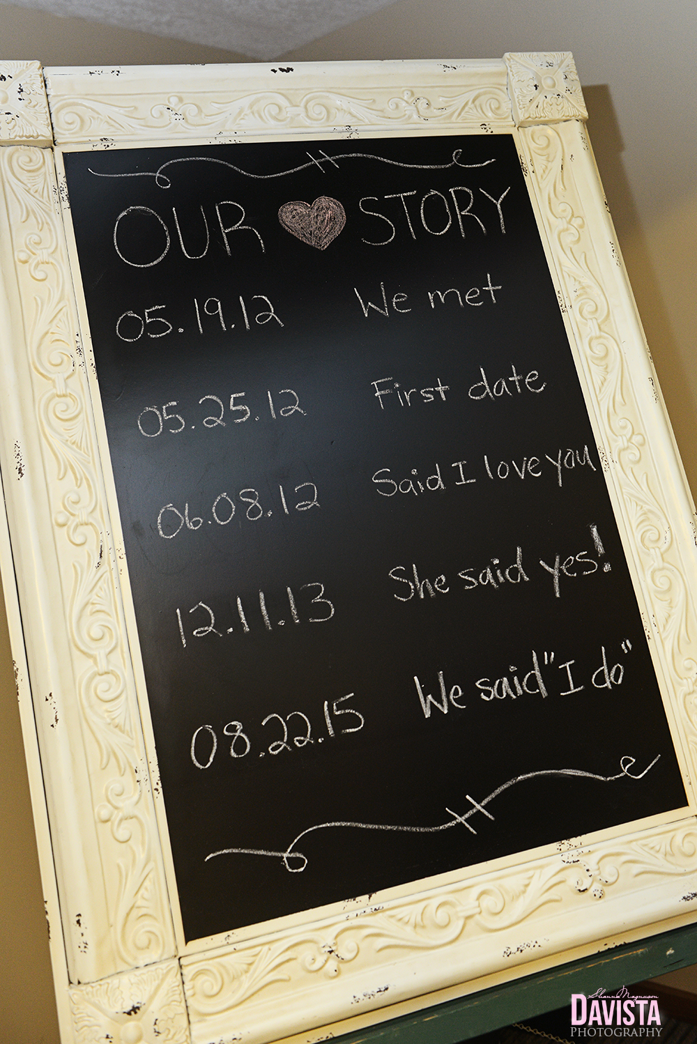 bride and groom wedding story board