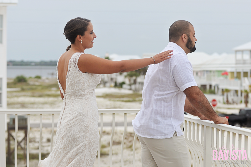 first look for bride and groom beach wedding