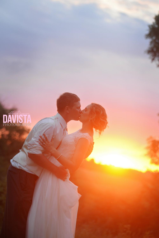 sunset portraits at farm reception