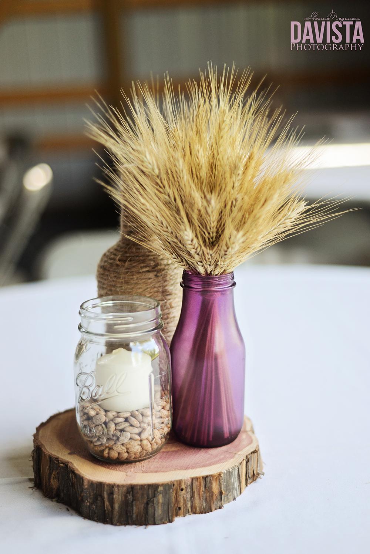 purple DIY wedding center pieces ideas