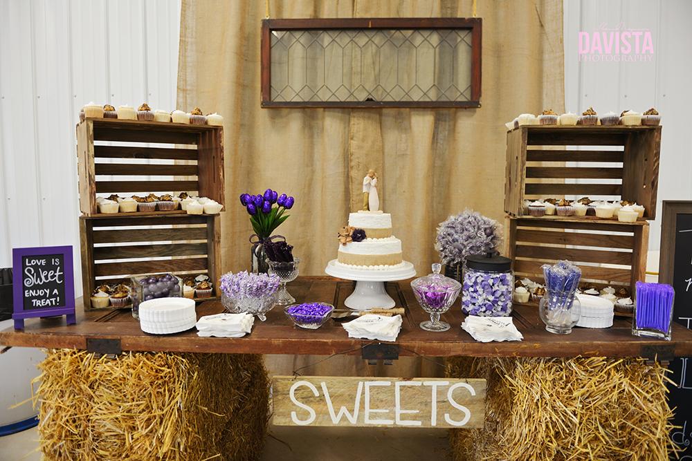 dessert table at a farm wedding minnesota