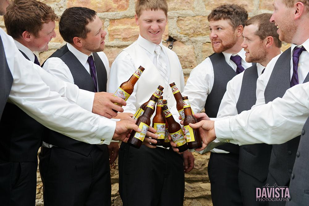 groomsmen photography with beer