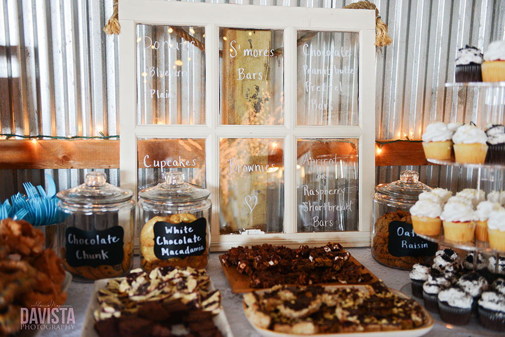 dessert table at a rustic chic farm wedding