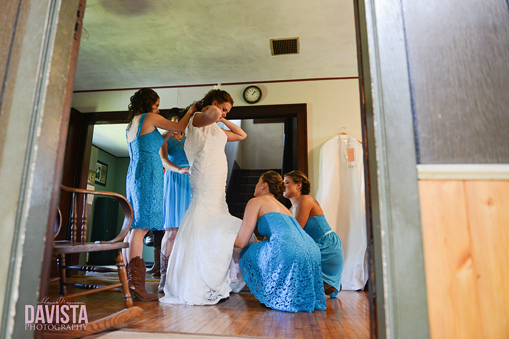 helping bride get ready for her big day