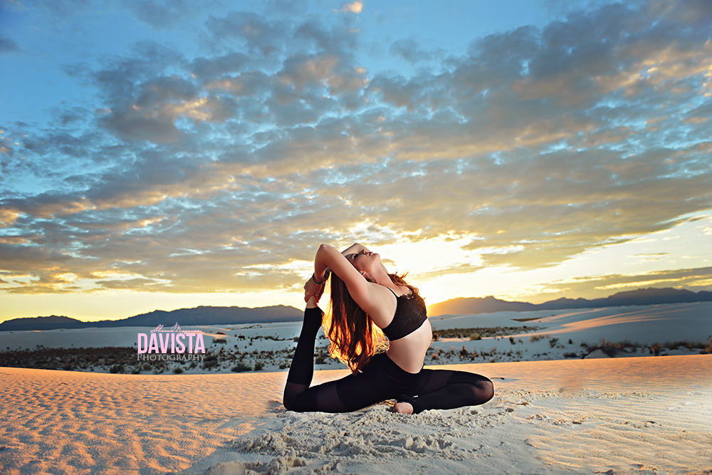 gorgeous king pigeon yoga photoshoot pose in sand