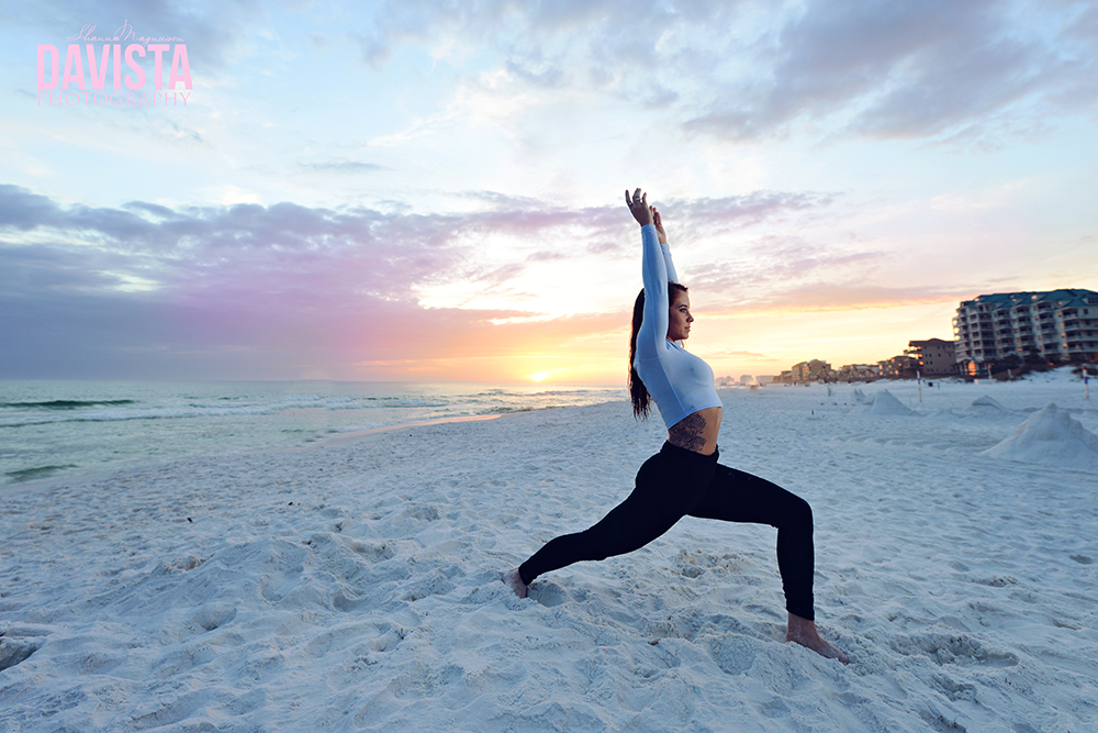 yoga poses on the beach in Destin Florida