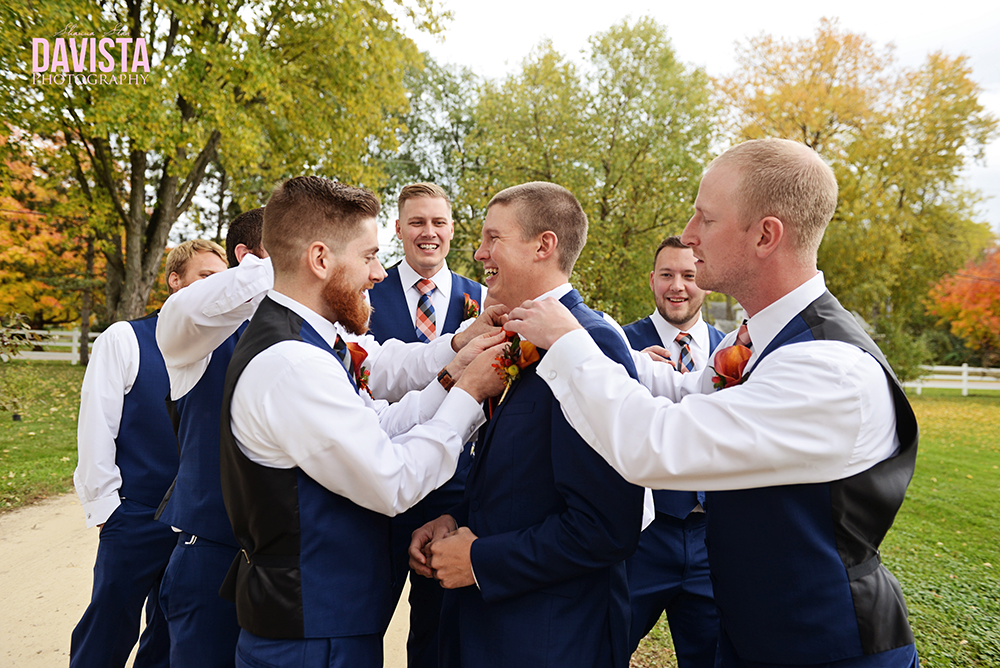 groomsmen helping out